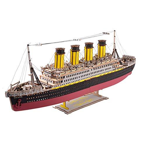 LIDY Jigsaw Puzzle 3D Divertido Estimulante Rompecabezas,Madera contrachapada Duradera Respetuoso Medio Ambiente Titanic,fácil Montar,no Hay Tijeras,Barco cruceros Regalos decoración,371pcs Jigsaw