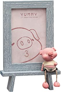 Vosarea Cartoon Pig Photo Frame Hanging Foot Booth Student Decorative Crafts Photo Frame Shooting Props(Grey)