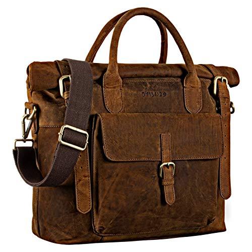 STILORD 'Jascha' Vintage Businesstasche Leder Laptoptasche DIN A4 Aktentasche Umhängetasche und Handtasche Büro Retro Echtleder, Farbe:Polo - braun