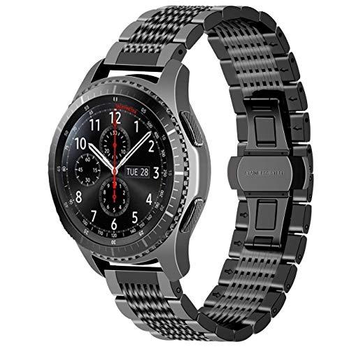 Juntan Compatibile for Galaxy Watch 46mm, Samsung Gear S3 Classic Frontier Galaxy Watch 3 45mm Cinturino Orologio Maglia di Acciaio Inossidabile 22mm Chiusura a Farfalla Nera