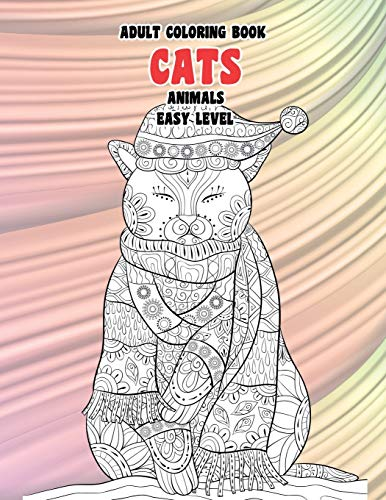 Adult Coloring Books Animals Easy Level - Cats