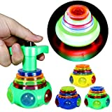 PROLOSO 12 Pack Led Spinning Tops Peg Top Light Up Music Spin Toys Glow in The Dark Party Supplies Gift