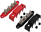 (Red & Black) 5/16' 4 Stud Power Distribution Block -BUSBAR- with Cover - Made in The USA