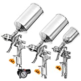 BEETRO HVLP Gravity Feed Air Spray Gun Set- 3 Spray Guns Auto Paint, 1000/100ml Capacity, 30-43psi 0.8/1.4/1.7mm Brass Nozzles 1/4 Connector with Air Regulator Easy to Clean