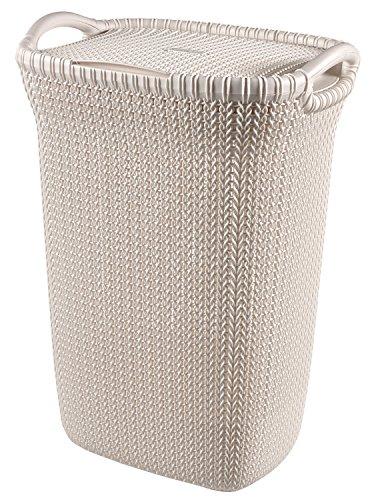 Curver 232081 - Cesta de ropa Knit, 57 L, con 2 asas, color arena