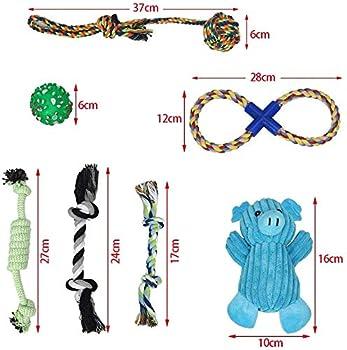 Lot de 7 jouets pour chiots - jouet chien pack - Jouet à mâcher pour chien - Cochon en peluche bleu - Jouet à mâcher en corde de coton