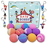 3.5OZ Bubble Bath Bombs Gift Set Kids/Women 6 Unique Clown Toys with Key Chain 12 Color Smell Foam Fizzy Relaxing Organic Essential Oils Spa Birthday Mothers Day Christmas Gift Idea for Kids Mother
