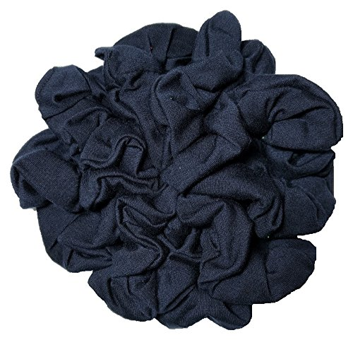 Navy Blue Scrunchie Set, Set of 10 Soft Cotton Scrunchies, Solid Color Packs (Navy Blue)