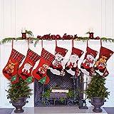 Uponer Juego de 7 Calcetines Navideños Medias de Navidad para el árbol de Navidad Chimenea Decoración Bolsa de Regalo Adorno Colgante de Navidad Calcetín de decoración navideña para llenar y Colgar