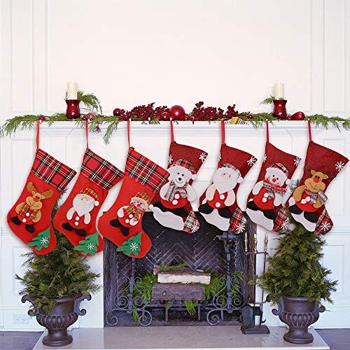 Nikolausstrumpf 7er Set Nikolausstiefel zum Befüllen Weihnachtsstrumpf Nikolaussocke mit weihnachtlicher Stickerei Weihnachtssocke Hängende Strümpfe für Weihnachtsdeko als Weihnachtsgeschenktasche