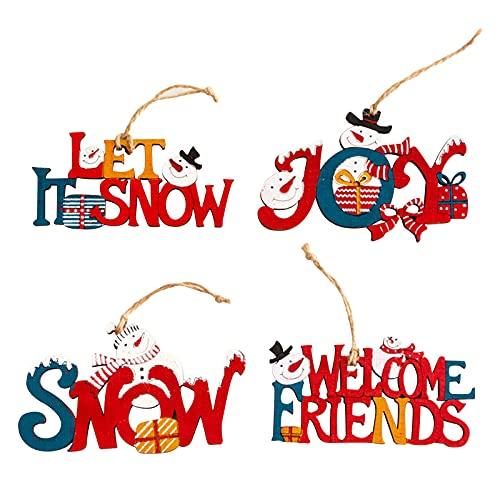 Adornos de Madera de Navidad 4 Piezas Adornos Navideños de Madera Colgantes Navideñas de Madera con Cuerda Navidad Adornos DIY Decoraciones para Árbol para Navidad Bricolaje Fiesta