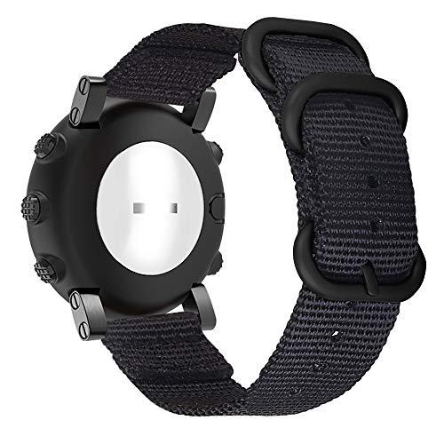 SoonCat Uhrenarmband Kompatible Suunto Core/Traverse/Essential Uhr, 24 mm Premium Woven Nylon Einstellbare Ersatz-Sportgurte mit Metallschnalle - Schwarz