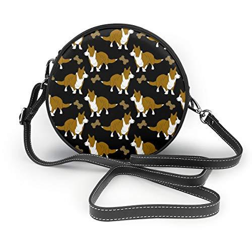 Damen Umhängetasche, Cartoon-Cardigans und Knochen, schwarzer Reißverschluss, Umhängetasche, runde Handtasche