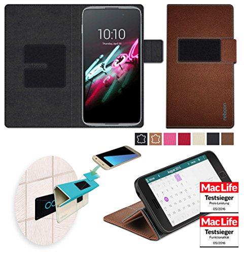 reboon Hülle für Alcatel OneTouch Idol 3 (5.5) Tasche Cover Case Bumper | Braun Leder | Testsieger