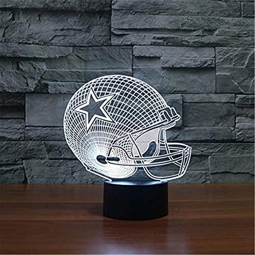 Luz nocturna 3D, luz de noche de ilusión óptica, 16 colores que cambian la lámpara de luz de la noche con USB decorativo remoto mesa escritorio dormitorio decoración juguetes para niños casco