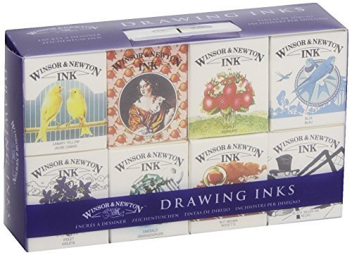 Winsor & Newton Drawing Inks 14ml Set of 8 | Henry Collection RRP ?4.99 by Winsor & Newton