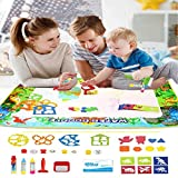 Globalstore Water Drawing Mat Aqua Magic Doodle Kids Toys, 43' x 28' Educational Painting Writing Mats with Pens, Color Doodle Board Toys, Xmas Gift for Toddlers Boys Girls Age of 4, 5, 6, 7, 8