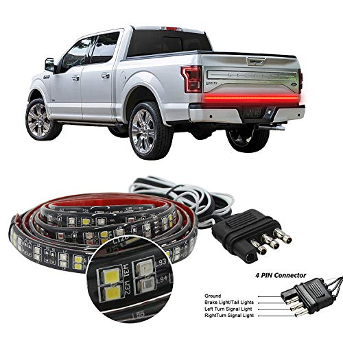 "Truck Tailgate Light Bar Double Row LED Flexible Strip 60"" Turn Signal Brake Reverse light for Pickup Trailer, Red/White"