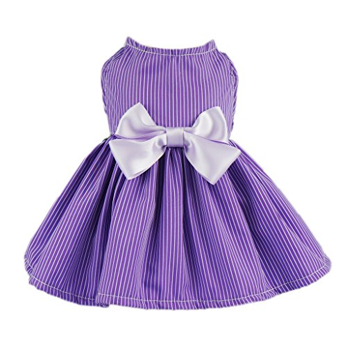 Fitwarm Elegant Dog Dress Pet Clothes Striped Shirts Cat Apparel, Purple