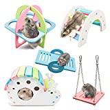 Dwarf Hamsters House DIY Wooden Gerbil Hideout Rainbow Bridge Swing and PVC Seesaw, Pet Sport Exercise Toys Set, Sugar Glider Syrian Hamster Cage Accessories, Suitable for Small Animal (H02)