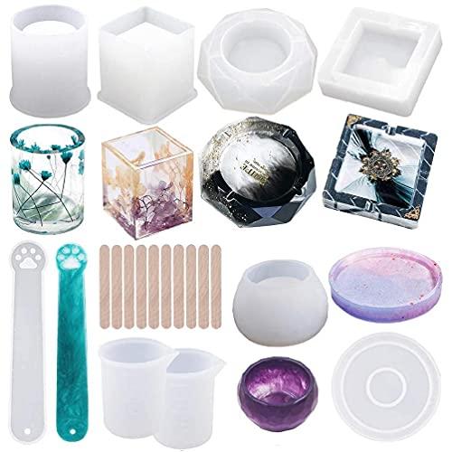 Herafica 19 pezzi stampo in resina per colata di silicone rotondo cilindro cubo portapenne posacenere tazza candela stampo sapone per fai da te fai da te decorazione della casa portapenne posacenere t