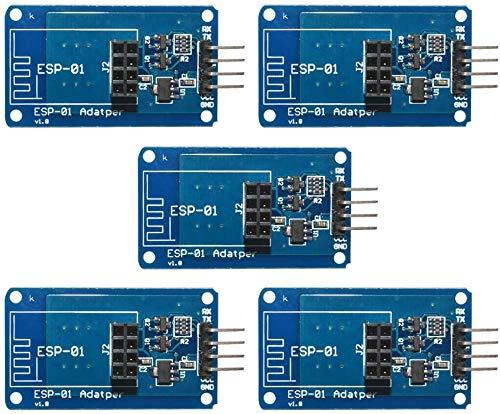 ICQUANZX 5 Stück Wireless WiFi ESP8266 ESP01 3,3 V 5 V ESP-01 Serielle Adapter-Modulplatine für Arduino