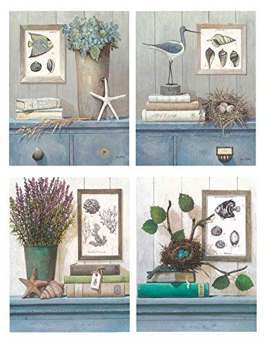 Quadro da bagno,set di 4pezzi, 19x 25cm ogni quadro, per decorazione da bagno