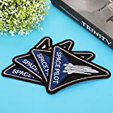 Pegatinas bordadas de 3.9 x 3.9 in, aplique duradero con patrón de nave espacial, para sombreros de chaqueta