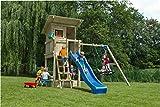 Spielturm Beach Hut - Blue Rabbit 2.0 - Podesthöhe 120cm mit Rutsche 240 cm, Doppelschaukel 240cm...