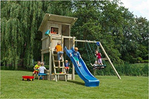 Spielturm Beach Hut - Blue Rabbit 2.0 - Podesthöhe 120cm mit Rutsche 240 cm, Doppelschaukel 240cm und Holz