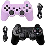 Tidoom PS3 Controller Wireless Playstation 3 Controller Bluetooth Gamepad Compatible for PS3 Remote Controller with Cables Purple Black 2 Pack