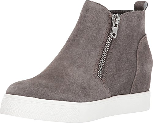 Steve Madden Women's Wedgie Sneaker, Grey Suede, 6
