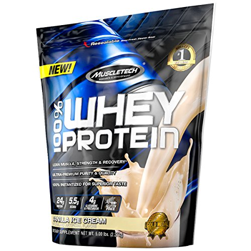 Protein Powder | MuscleTech 100% Whey Protein Powder | Whey Protein Isolate + Peptides | Protein Powder for Women & Men | Muscle Builder + Muscle Recovery | Vanilla Protein Powder, 5 lbs (56 Servings)