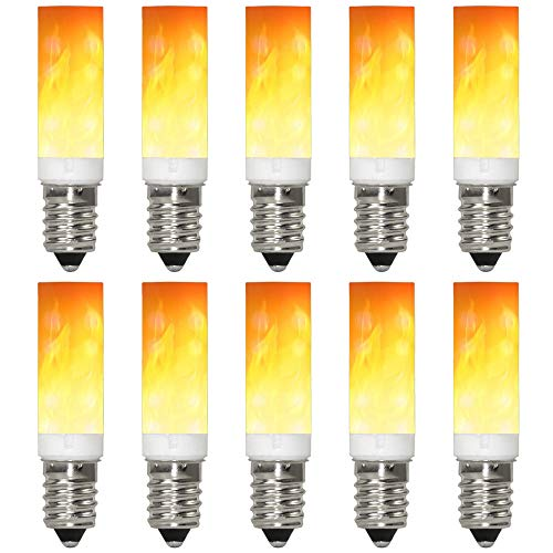 GRANVOO 10-er Pack E14 LED Flammen Lampe PC + Keramik Material 0.5W LED Leuchtmittel Flammenfarbe 10lm 36X2835 SMD AC 220-240V