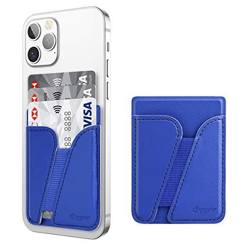 SUPGEAR Tarjetero Adhesivo Porta Tarjetas Universal para Teléfonos Inteligentes iPhone y Android-Azul