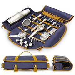 """22-pieces PROFESSIONAL BAR KIT comes with the following bar accessories: Boston cocktail tins - 18 oz & 28 oz, Double-sided drink shaker - 1 / 1-¾ oz (30/50 ml), Wooden muddler – 8.5"""", Bar spoon for mixing - 11"""", Hawthorne strainer, Julep strainer, F..."""