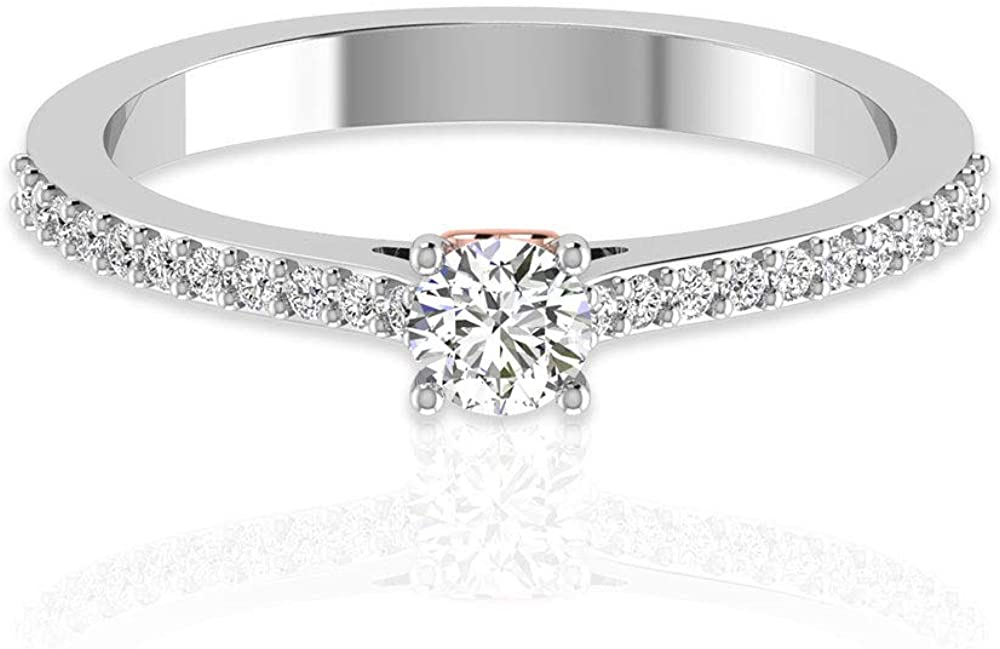 0.42 Ct IDCL Certified Moissanite Gold Ring, DEF-VS1 Color Clarity Gemstone Two Tone Ring, Heart Bridal Promise Ring, Statement Solitaire Women Ring