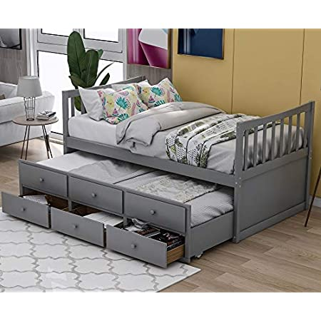 Espresso Danxee Wood Bed Captains Bed Storage Twin Daybed with Trundle Bed and Storage Drawers Platform Bed Kids Bed