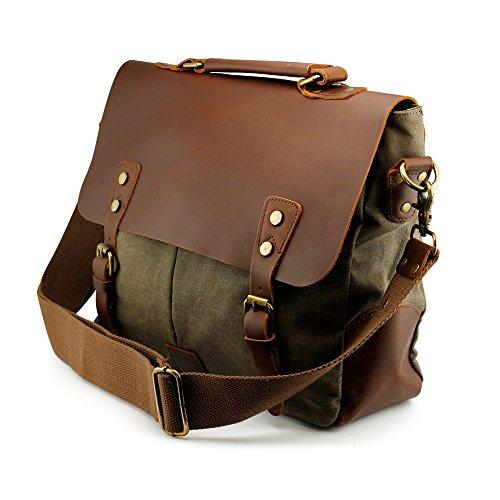 GEARONIC Men's Faux Leather Canvas Messenger Vintage Satchel Shoulder Bag School Laptop (Green)