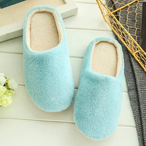 Comfortabele Antislipzool Warme Zachte Katoenen Thuis Indoor Slippers Dames Schoenen Winter Slippers Blauw 38-39