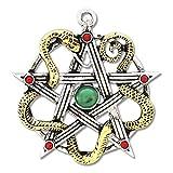 ein Prachtstück.für Weisheit und Heilung... das Pentagram der keltischen Göttin Sulis, rote und grüne Zirkonia, eine goldfarbene Schlange, kommt mit passender Kette, Durchm. ca. 4,5 cm