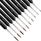 10Pcs Miniature Paint Brushes, Detail Fine Tip Paint Brushes Set with Ergonomic Handle - Suitable for Acrylic Painting, Oil, Watercoloring, Face, Nail, Scale Model Painting, Line Drawing