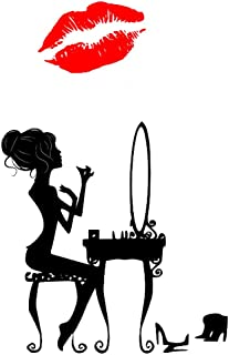 BooDecal Makeup Women with Red Mouth Lip Removable Wall Decals Murals Stickers for Bedroom 21 inches x 33 inches