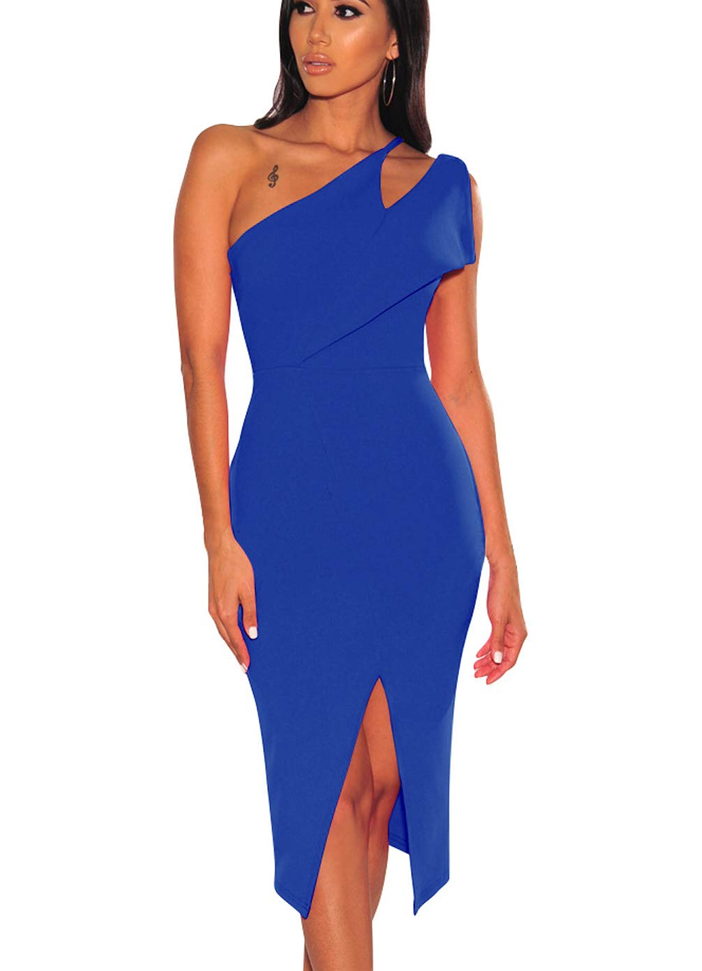 Available at Amazon: EHNSYZYU Women's Sexy One Shoulder Slit Skirt Work Elegant Backless Pencil Wrap Party Gown