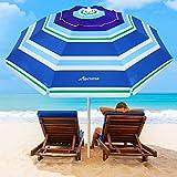 MOVTOTOTOTOP - Ombrello da spiaggia, 2 m, con meccanismo di inclinazione, portatile, protezione UV 50+, con borsa per il trasporto per patio all'aperto (striscia azzurra)