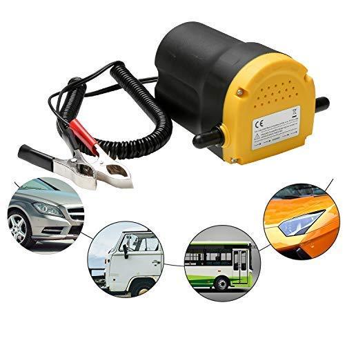 Ejoyous 12V DC Pompe d'extraction Diesel, 60W 250L/H Portable Pompe à Vidange D'huile avec Tubes, Pompe d'extraction d'huile pour Auto Voiture, Noir + Jaune