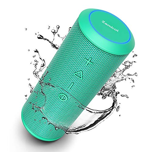 Zamkol Bluetooth Speakers, Bluetooth Speakers Portable WirelessV4.2 with Powerful 24W with 360° Bass Sound, TWS, 15H Playtime & IPX6 Waterproof, Suitable for Travel, Home and Outdoors (Teal)
