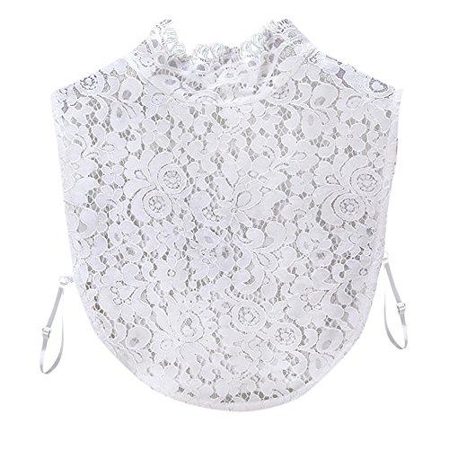 Kolylong® Damen Frauen Elegant Blusenkragen mit Spitze Mode Spitze Kragen Abnehmbare Hälfte Shirt Bluse Vintage Hemd Tank Crop Top Abnehmbare Halsbänder Collars (Weiß)