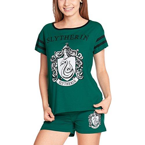 Elbenwald Harry Potter Pyjama Hogwarts Häuserwappen Slytherin Frontprint 2teilig für Damen kurz grün - XS