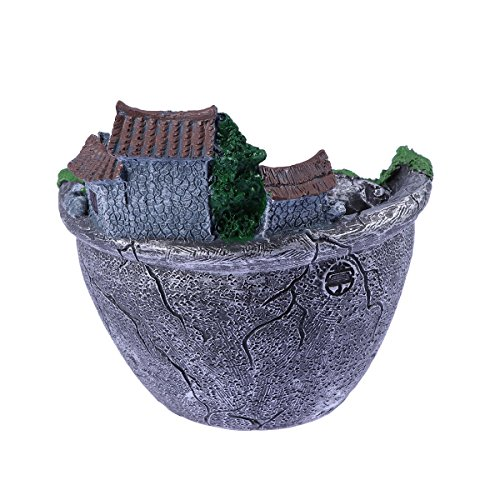 NUOLUX Micro Landscape Artificial Flowers Succulent Plants Pot Tiny Creative Flower Pot Holders Hanging Garden Design with Sweet House (Silver)